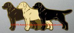 """Labrador Retriever 3-Colors Chocolate - Yellow - Black 11"""" Magnet"""