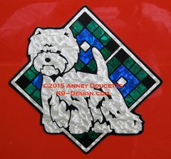 "West Highland White Terrier Scottish Plaid Diamond 8"" Magnet - Choose Colors"