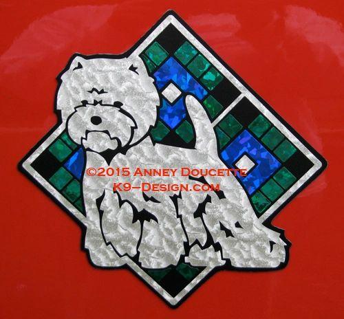 "West Highland White Terrier Scottish Plaid Diamond 8"" Magnet - Choose Colors"