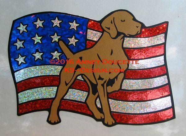 Vizsla on USA Flag Magnet