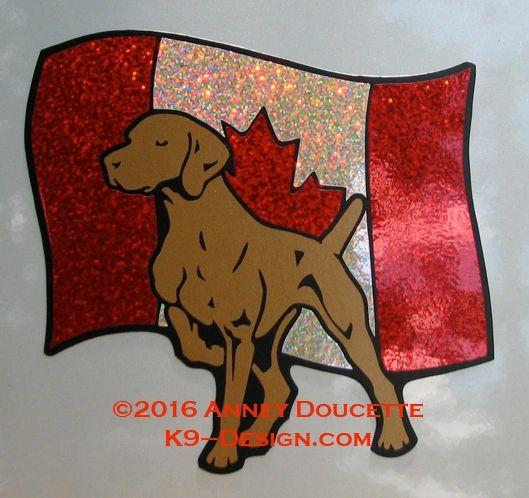 Vizsla on Canada Flag Magnet