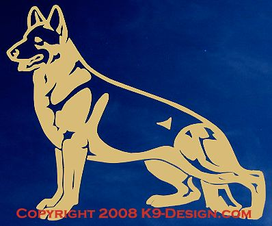 German Shepherd Dog Standing Decal - Choose Color
