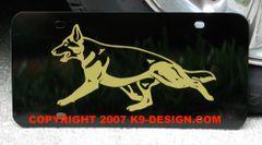 German Shepherd Dog Trotting Aluminum License Plate