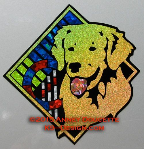 "Golden Retriever Agility Diamond 8"" Magnet"