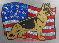 German Shepherd Dog on USA Flag Magnet