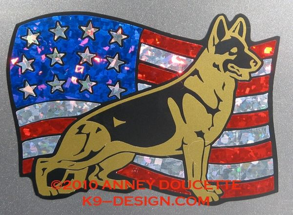 German Shepherd Dog on USA Flag Magnet