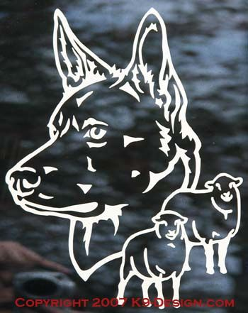 Australian Kelpie Headstudy With Sheep Decal - Choose Color