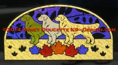 "Golden Retriever Autumn Leaf 11"" Half-Oval Magnet"