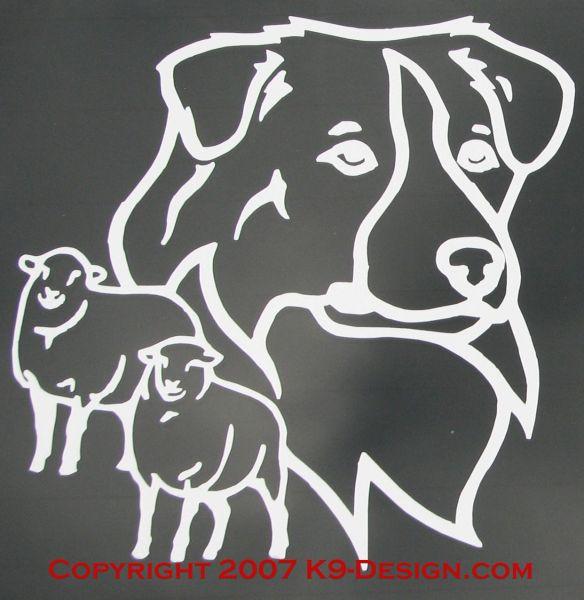 Australian Shepherd Headstudy With Sheep Decal - Choose Color