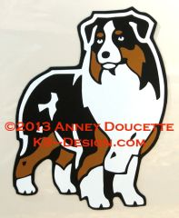 Australian Shepherd Standing Front Magnet - Choose Color