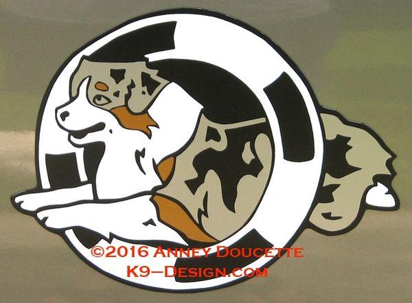 Australian Shepherd Agility Tire Large Magnet - Choose Dog & Tire Colors