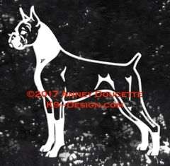 Boxer Stacked Decal - Natural or Cropped Ears