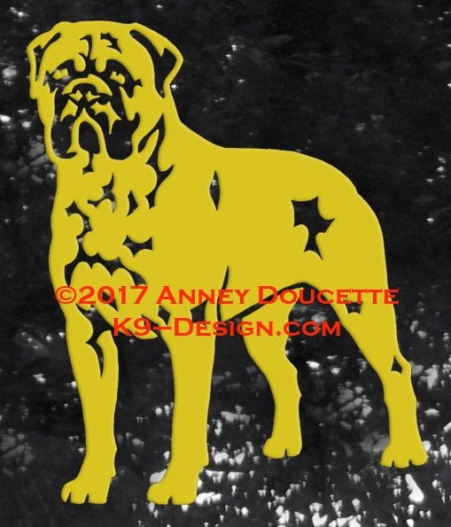 Bullmastiff Stand Front Decal - Choose Color