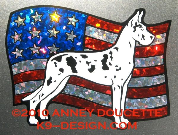 Great Dane on USA American Flag Magnet - Choose Color