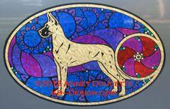 "Great Dane ""Show Spectacular"" XL Oval Magnet - Choose Dog Color"