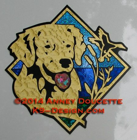 "Golden Retriever Duck / Hunting Diamond 8"" Magnet"