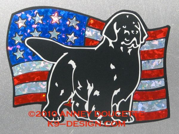 Newfoundland on USA American Flag Magnet - Choose Color