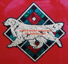 "Golden Retriever Scottish Plaid Diamond 8"" Magnet - Choose Colors"