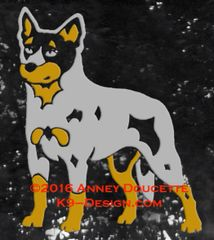 Australian Cattle Dog Standing Decal - Choose Blue Or Red Dog