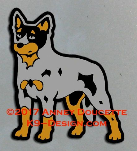 Australian Cattle Dog Standing Magnet - Choose Red or Blue Dog