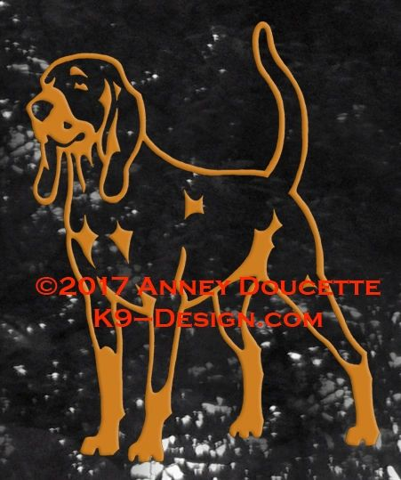 Black & Tan Coonhound Standing Decal