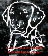 Curly-Coated Retriever Headstudy with Ducks Decal