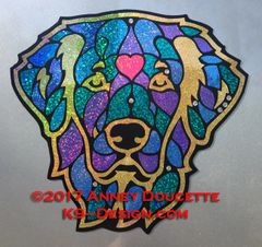 "Golden Retriever ""Stained Glass"" Headstudy Magnet - Choose Color"