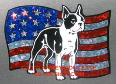 Boston Terrier on USA Flag Magnet
