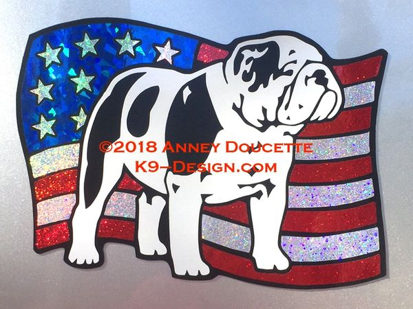 Bulldog on USA American Flag Magnet - Choose Color