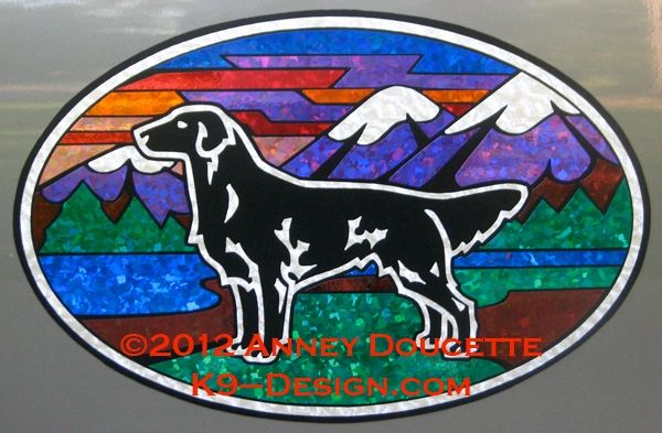 "Flat-Coated Retriever ""Colorado"" XL Oval Magnet - Black or Liver Dog"