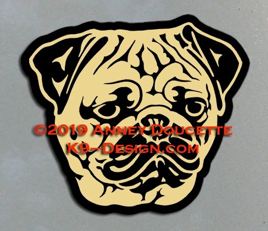 Pug Headstudy Magnet - Choose Color