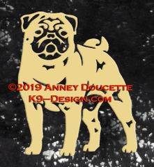 Pug Standing Decal - Choose Color