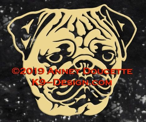 Pug Headstudy Decal - Choose Color
