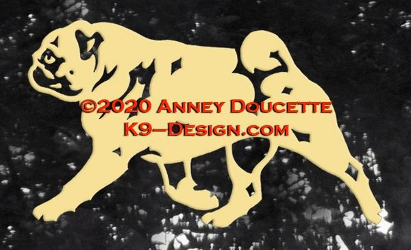 Pug Trotting Decal - Choose Color