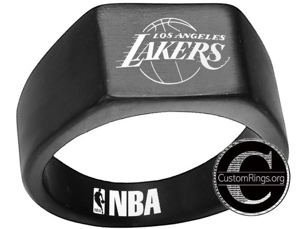 los angeles lakers logo ring black stainless steel nba ring size 8 12 nba lakers basketball los angeles lakers logo ring black