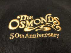 Black Osmond 70's logo polo shirt (4X, 5X only)