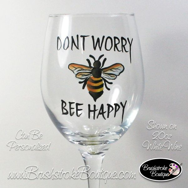Hand Painted Wine Glass Buzzed Bees Bumblebee
