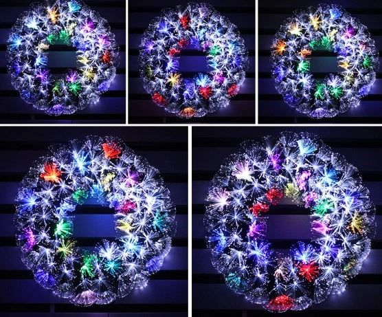 HOLIDAY STUFF Twinkling Stra Fiber Optic Christmas Wreath Pre-lit with Blue and White LED Lights 16in Wreath