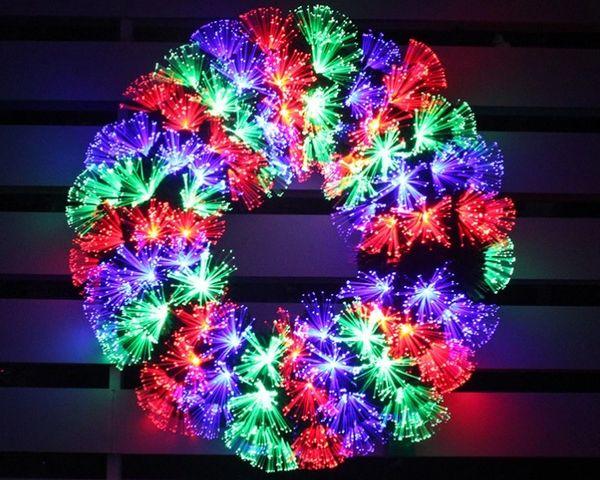 Fortune Wheel Multi Color Led Fiber Optic Christmas Wreath