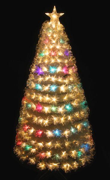 Pre Lit Warm White Color Changing Led Fiber Optic White Christmas Tree