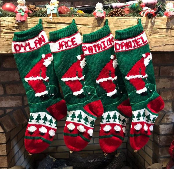 Knit Christmas Stockings.Hand Knit Christmas Stocking Golfing Santa