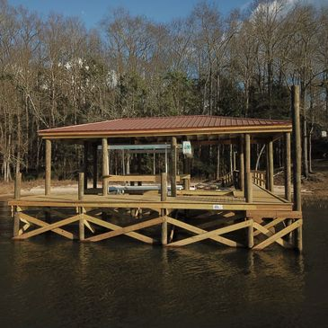 Wood Pole Dock, Lake Eufaula, Alabama, Boathouse,