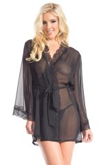 BW1629 Black Front Tie Sheer Robe