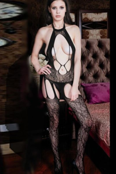 19046 Black Fishnet and Lace Bodystockings