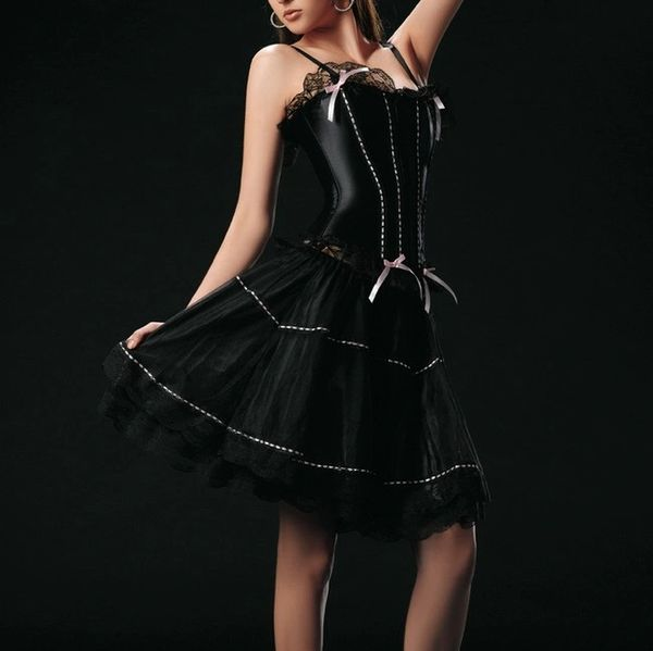 4013 Black Corset & Skirt Set w/Pink Ribbon