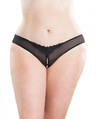 2066 Crotchless Thong with Pearls