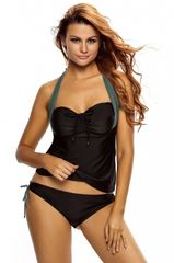 3716X Black Gray Halter Neck Tankini Swimsuit