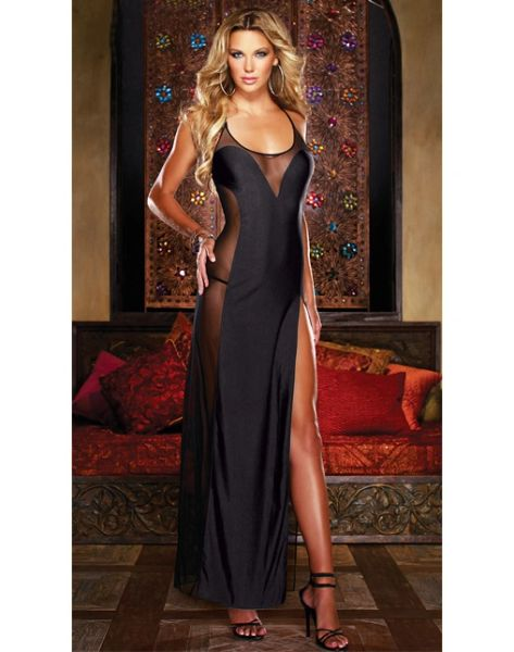 L944 Black Mesh Side Slit Gown