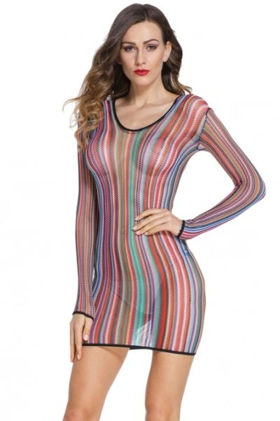 C225 Stripe Fishnet Chemise Dress/Cover up