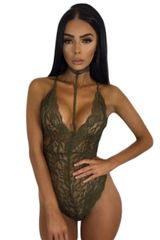 3213 Army Green Sheer Lace Choker Neck Teddy